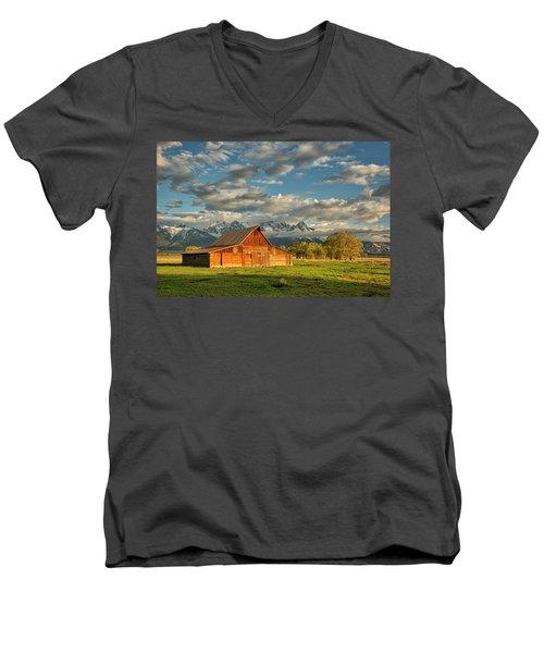 Morning Light On Moulton Barn #2 Men's V-Neck T-Shirt