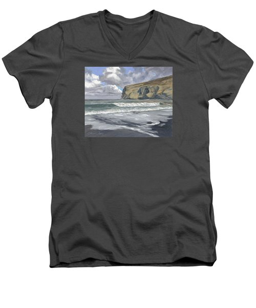 Men's V-Neck T-Shirt featuring the painting Morning Light On Pencannow Point by Lawrence Dyer
