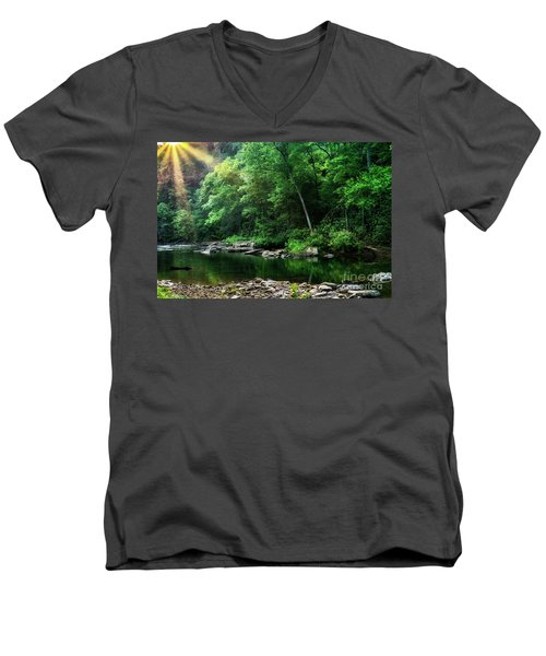 Morning Light On Williams River  Men's V-Neck T-Shirt