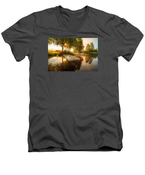 Men's V-Neck T-Shirt featuring the photograph Morning Light by Rose-Maries Pictures