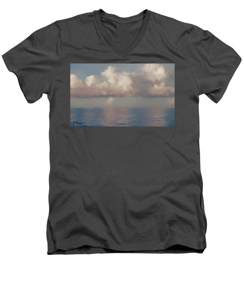 Men's V-Neck T-Shirt featuring the painting Morning Lights by Rosario Piazza