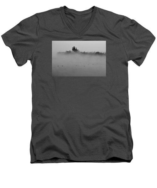 Morning Mist At Wetland Of Harike Men's V-Neck T-Shirt by Manjot Singh Sachdeva