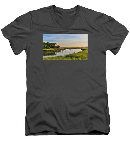 Men's V-Neck T-Shirt featuring the photograph Morning On The Creek - Wild Dunes by Donnie Whitaker