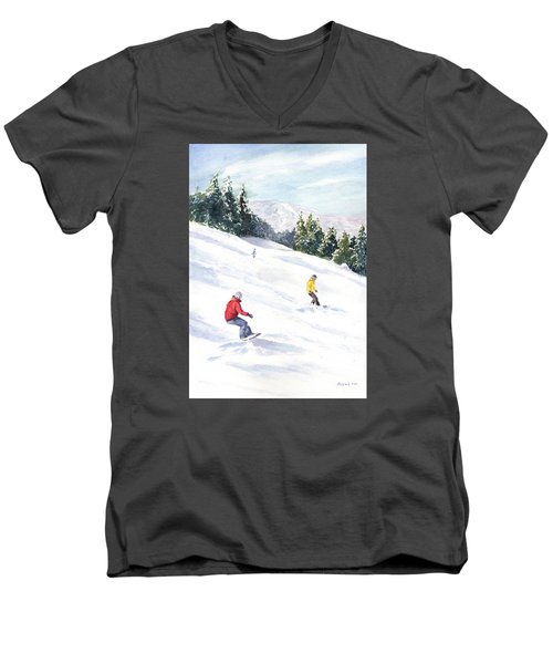 Men's V-Neck T-Shirt featuring the painting Morning On The Mountain by Vikki Bouffard
