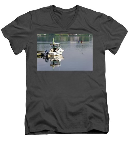 Men's V-Neck T-Shirt featuring the photograph Morning On The Navesink River 2 by Gary Slawsky