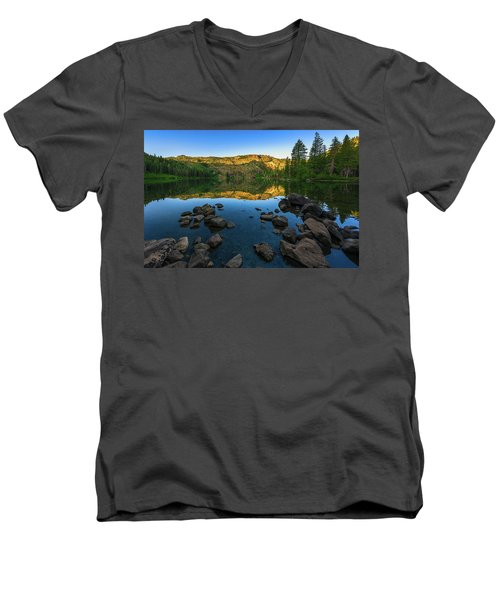 Morning Reflection On Castle Lake Men's V-Neck T-Shirt