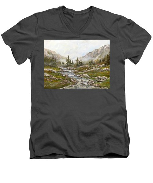 Men's V-Neck T-Shirt featuring the painting Morning Rising Fog by Dorothy Maier