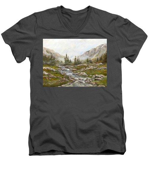 Morning Rising Fog Men's V-Neck T-Shirt by Dorothy Maier