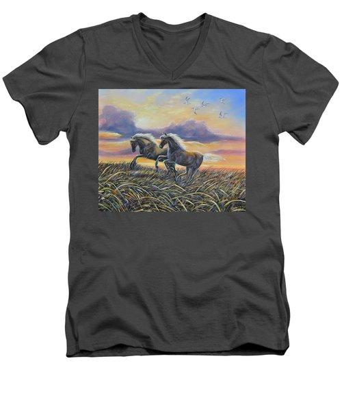Morning Run Men's V-Neck T-Shirt by Gail Butler