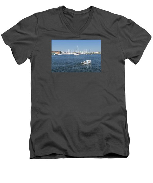 Men's V-Neck T-Shirt featuring the photograph Solitude On The Creek by Charles Kraus