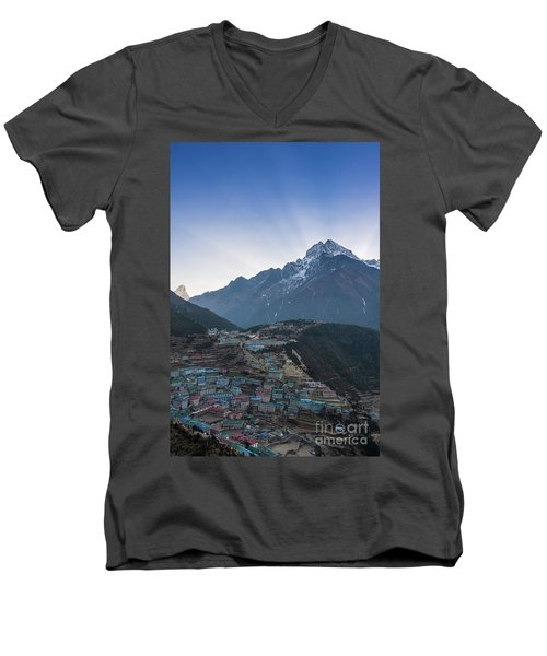 Men's V-Neck T-Shirt featuring the photograph Morning Sunrays Namche by Mike Reid