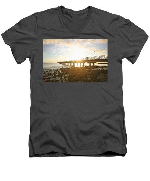 Morning Sunshine At The Pier  Men's V-Neck T-Shirt