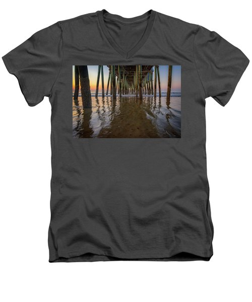 Men's V-Neck T-Shirt featuring the photograph Morning Under The Pier, Old Orchard Beach by Rick Berk