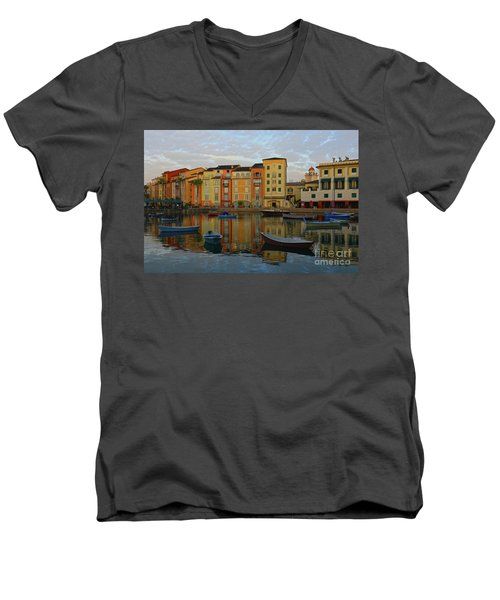 Men's V-Neck T-Shirt featuring the photograph Morning Universal Reflections by Deborah Benoit