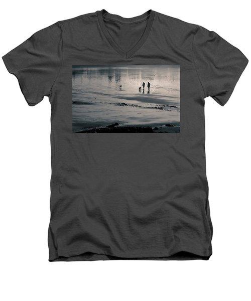 Morning Walk, Gooch's Beach, Kennebunk, Maine Men's V-Neck T-Shirt