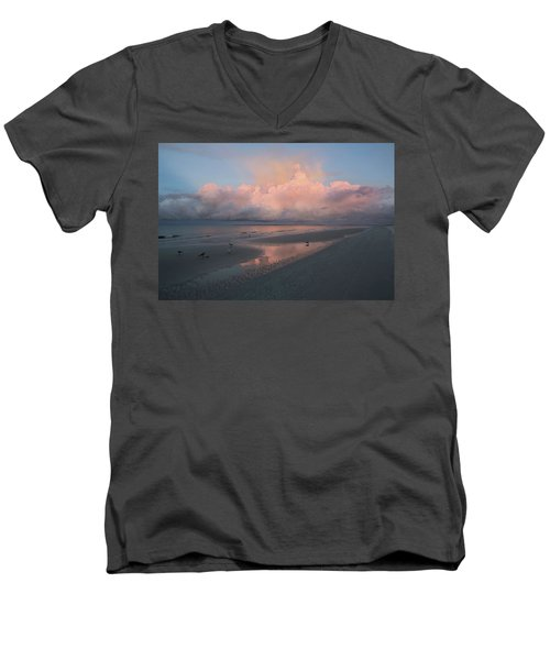 Men's V-Neck T-Shirt featuring the photograph Morning Walk On The Beach by Kim Hojnacki