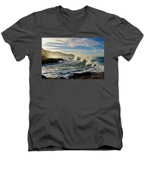 Morning Waves At Kaena Men's V-Neck T-Shirt