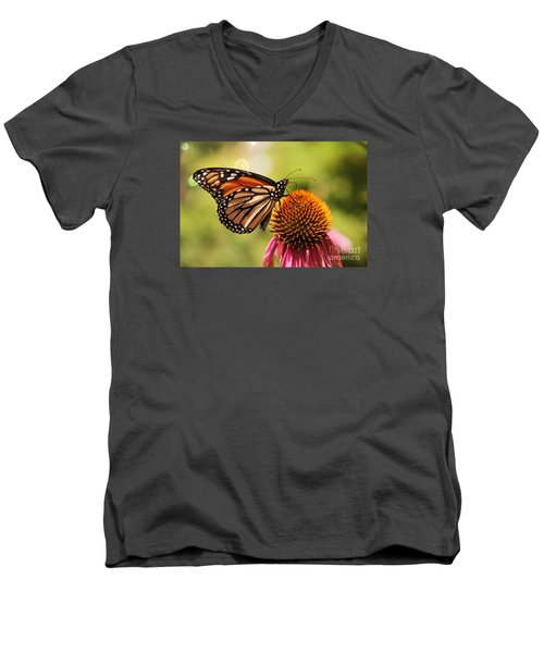 Men's V-Neck T-Shirt featuring the photograph Morning Wings by Yumi Johnson
