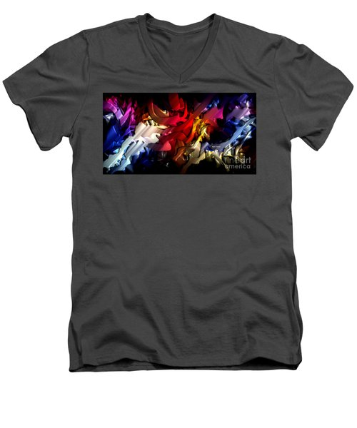 Men's V-Neck T-Shirt featuring the digital art Morphism Of Desire by Rafael Salazar