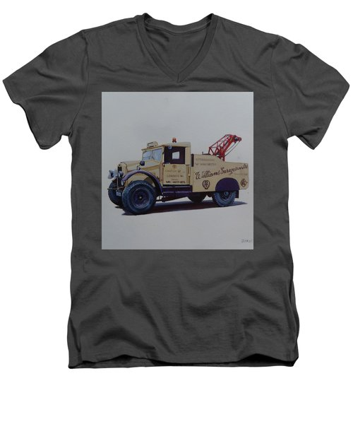 Men's V-Neck T-Shirt featuring the painting Morris Commercial Wrecker. by Mike Jeffries