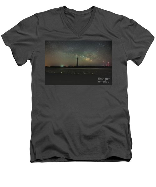 Morris Island Light House Milky Way Men's V-Neck T-Shirt by Robert Loe