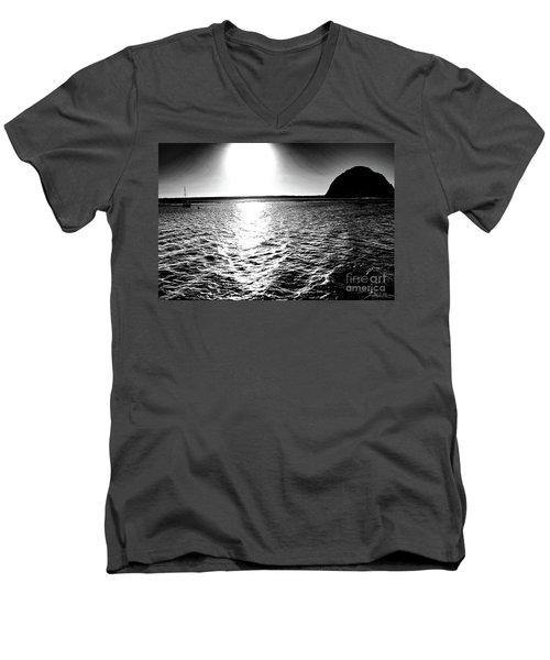 Morro Rock, Black And White Men's V-Neck T-Shirt