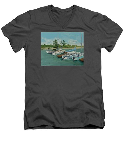 Men's V-Neck T-Shirt featuring the painting Morro Bay State Park Ca by Katherine Young-Beck