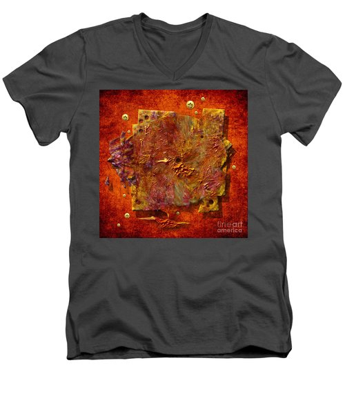 Men's V-Neck T-Shirt featuring the painting Mortar Disc by Alexa Szlavics