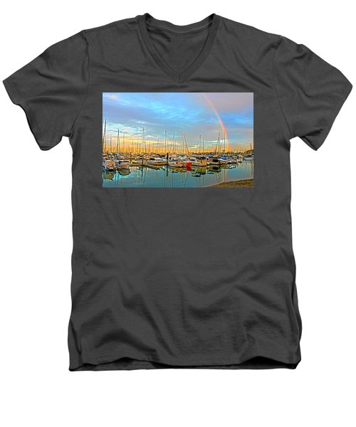 Morton Bay Rainbow Men's V-Neck T-Shirt