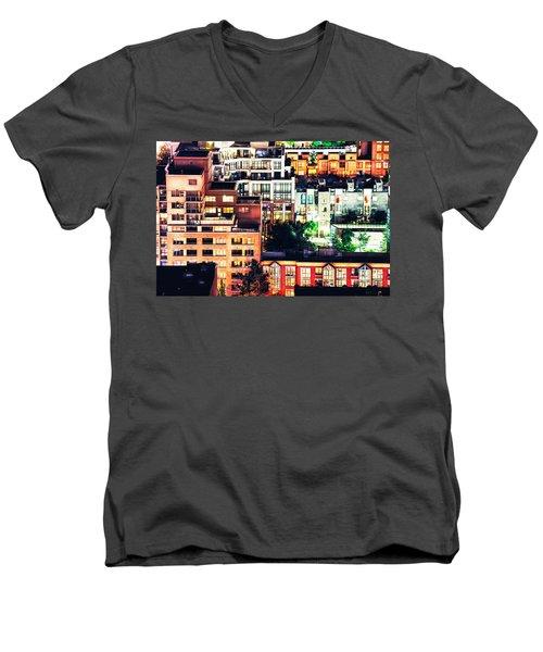 Mosaic Juxtaposition By Night Men's V-Neck T-Shirt