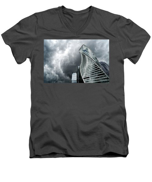 Moscow City And Storm Men's V-Neck T-Shirt