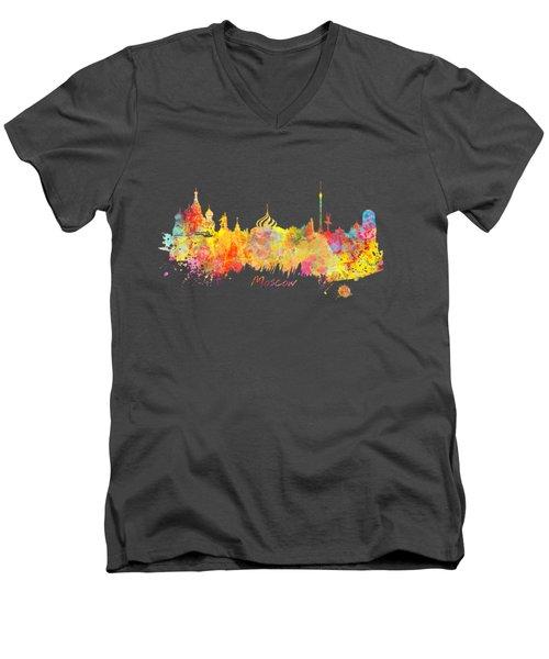 Moscow Skyline  Men's V-Neck T-Shirt by Justyna JBJart
