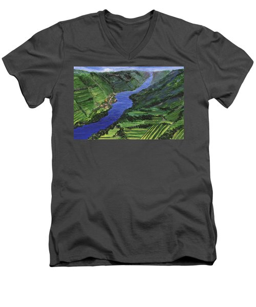 Men's V-Neck T-Shirt featuring the painting Moselle River by Jamie Frier