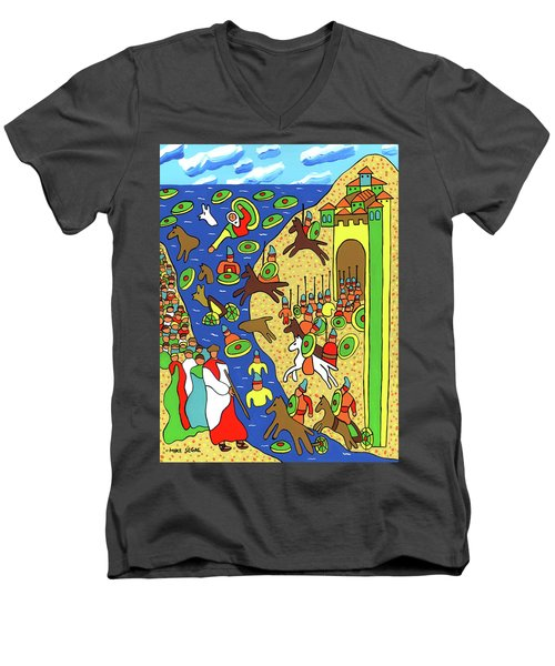 Moses Parting The Red Sea Men's V-Neck T-Shirt