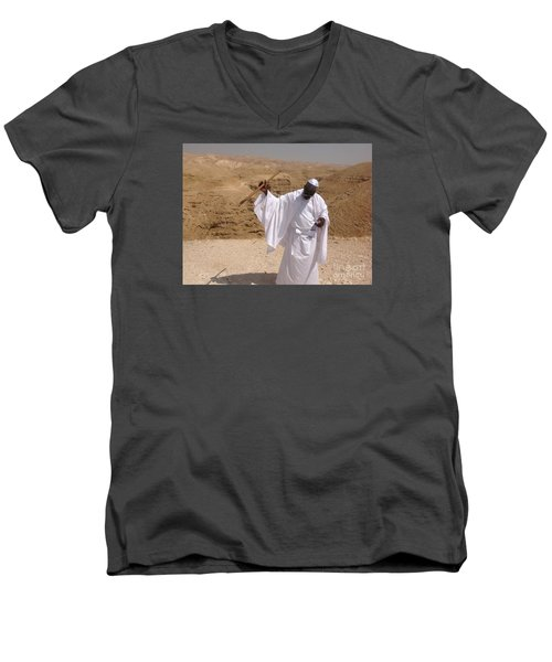 Men's V-Neck T-Shirt featuring the photograph Moses by Simon