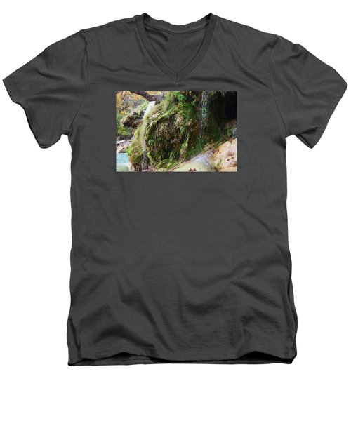 Men's V-Neck T-Shirt featuring the photograph Moss And Waterfalls by Sheila Brown