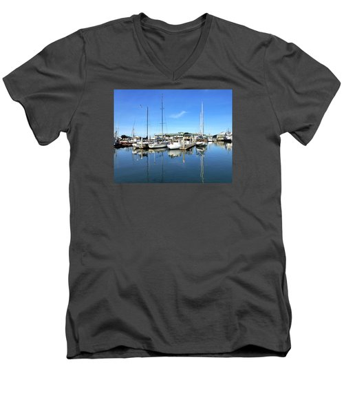 Moss Landing Harbor Men's V-Neck T-Shirt by Amelia Racca