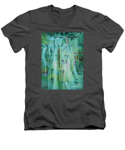 Men's V-Neck T-Shirt featuring the painting Mossy Falls by Elizabeth Carr