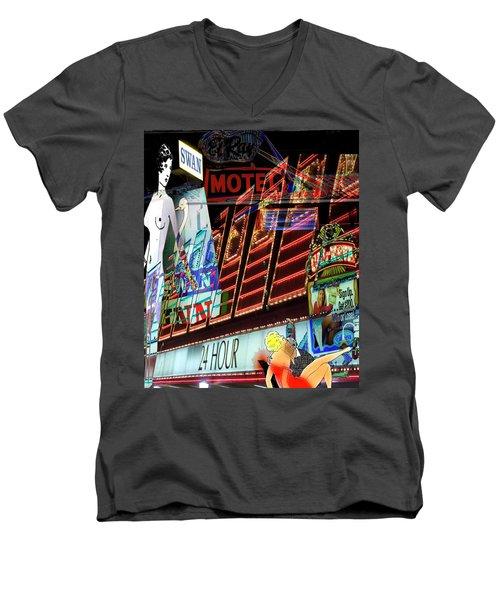 Motel Variations 24 Hours Men's V-Neck T-Shirt by Ann Tracy