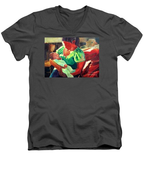 Men's V-Neck T-Shirt featuring the painting Mother And Child In Red2 by Kathy Braud