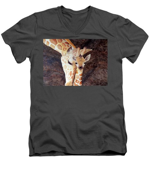 Men's V-Neck T-Shirt featuring the painting Mother And Child by Laurel Best