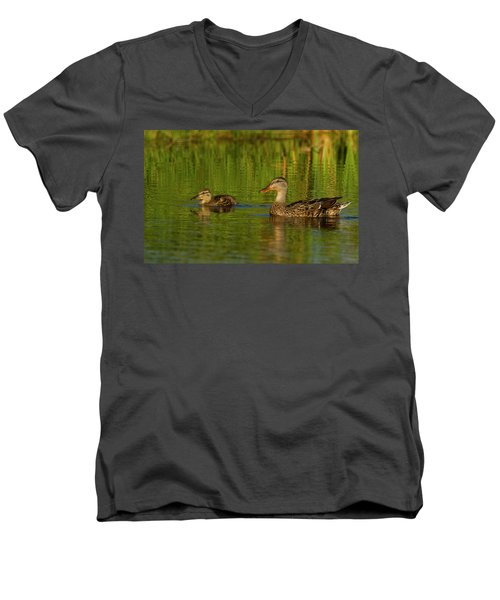 Men's V-Neck T-Shirt featuring the photograph Mother And Child Mallards by Jean Noren