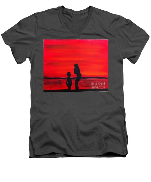 Men's V-Neck T-Shirt featuring the painting Mother And Child by Rod Jellison