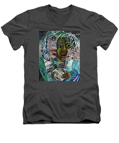 Mother And Child Men's V-Neck T-Shirt by Sarah Loft