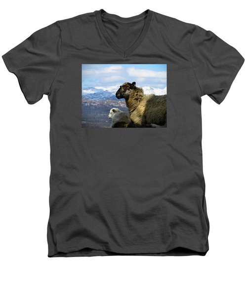 Men's V-Neck T-Shirt featuring the photograph Mother And Lamb by RKAB Works