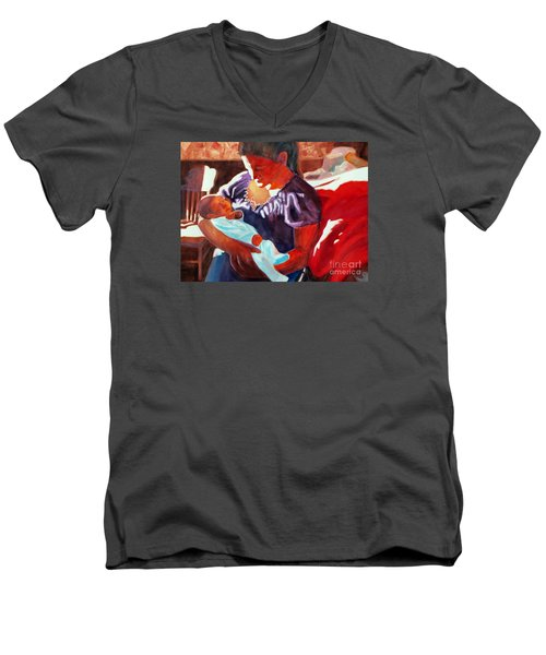 Mother And Newborn Child Men's V-Neck T-Shirt by Kathy Braud