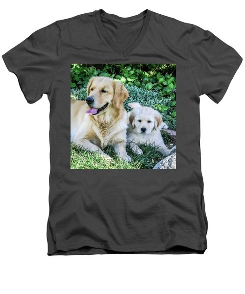 Mother And Pup Men's V-Neck T-Shirt