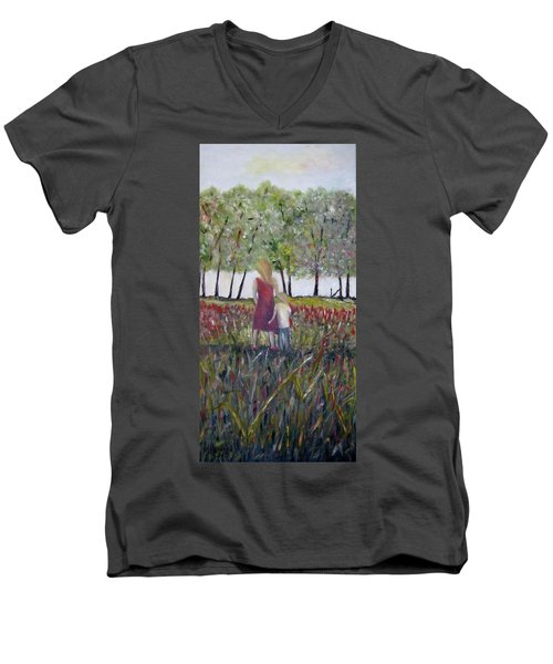 Men's V-Neck T-Shirt featuring the painting Mother And Son by Marilyn  McNish