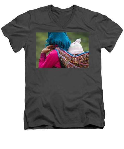 Men's V-Neck T-Shirt featuring the photograph Mother, Sa Pa, 2014 by Hitendra SINKAR