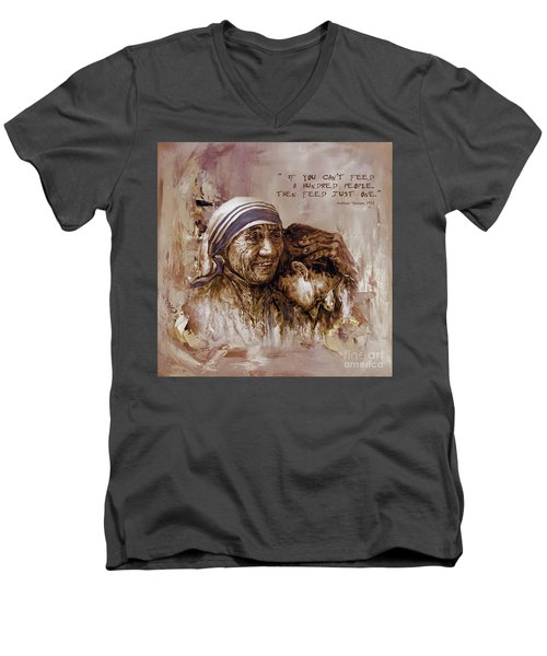 Men's V-Neck T-Shirt featuring the painting Mother Teresa Of Calcutta  by Gull G